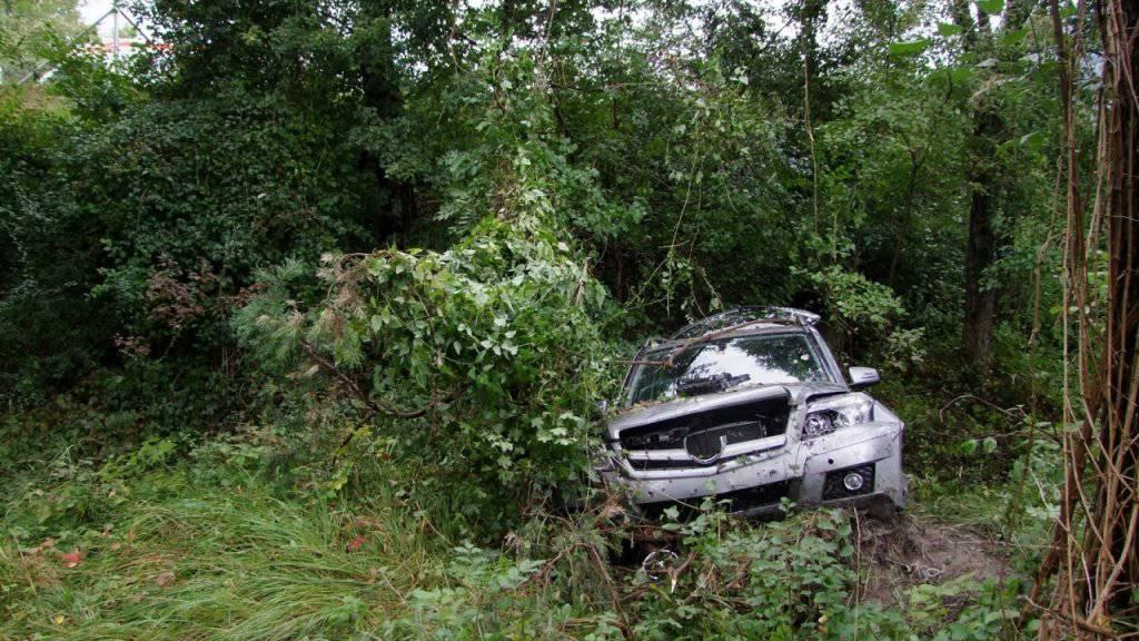Zur Bergung des abgestürzten Autos mussten Bäume gefällt werden.