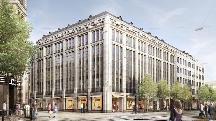 So soll das Manor-Gebäude an der Bahnhofstrasse nach der umfassenden Renovation aussehen.