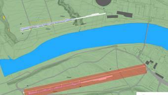 Swissfel PSi Ost: Die 700 Meter lange Anlage beginnt gegenüber den Bauten auf der Würenlinger PSI-Seite. Rot schraffiert ist die neue Bauzone und die nötige Waldrodung. Links der Aare der alte Standort und die runde Lichtquelle (SLS). psi