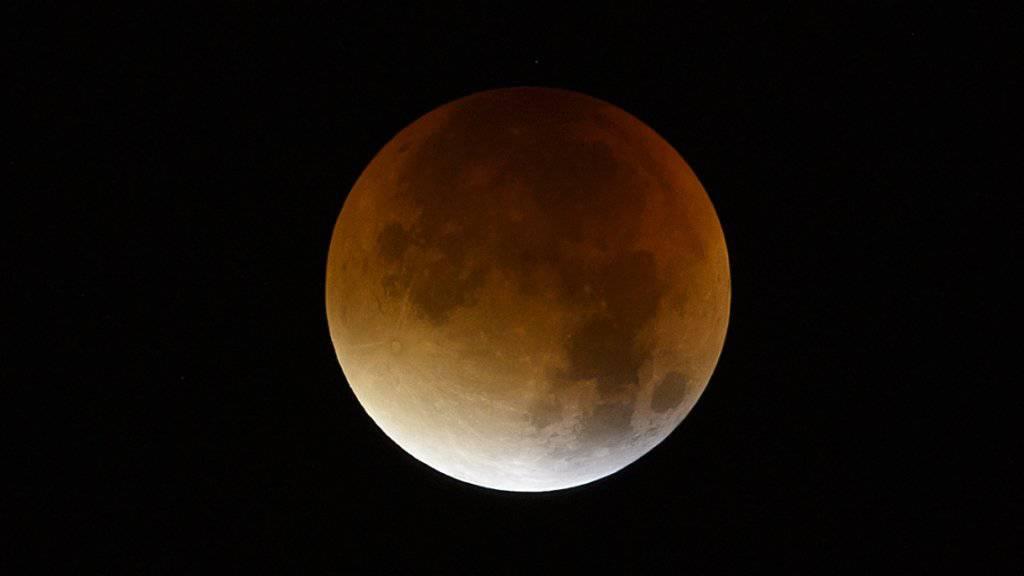 Gross und rötlich: Der Mond zeigte sich während der totalen Finsternis in der Nacht auf Montag - hier in Zürich Oerlikon - so wie nur ganz selten.