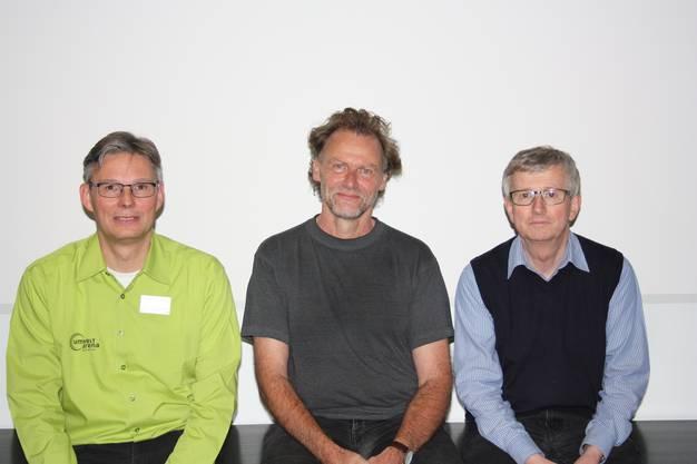 Drei hochkarätigen Referenten am Energie-Apéro in Baden, von links, Renato Nüesch, Andrea Gustav Rüedi und Josef Jenni.