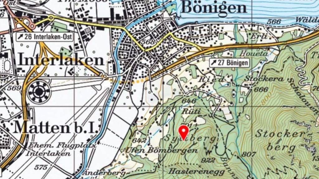 Der schwere Unfall ereignete sich im Gebiet Sytiberg in Bönigen bei Interlaken (im Bereich der roten Stecknadel).