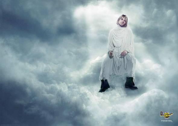 Dr. Martens bis in den Himmel: Sänger Kurt Cobain in einer Werbekampagne.