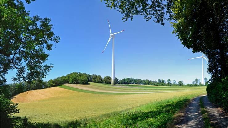 Oberhalb Kienbergs sollen dereinst nicht nur eins, sondern fünf Windräder stehen. Visualisierung: CSD Ingenieure Aarau