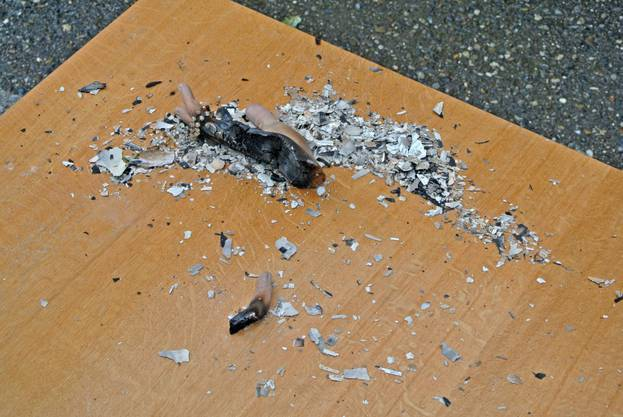 Die Reste der abgebrochenen Hand liegen in Asche