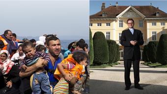 Verzweifelte Flüchtlinge, wie diese auf der Insel Lesbos Gestrandeten, wecken bei manchem Schweizer Ängste und Frustrationen statt Mitgefühl. Bischof Gmür nimmt einige Flüchtlinge im Schloss Steinbrugg auf.