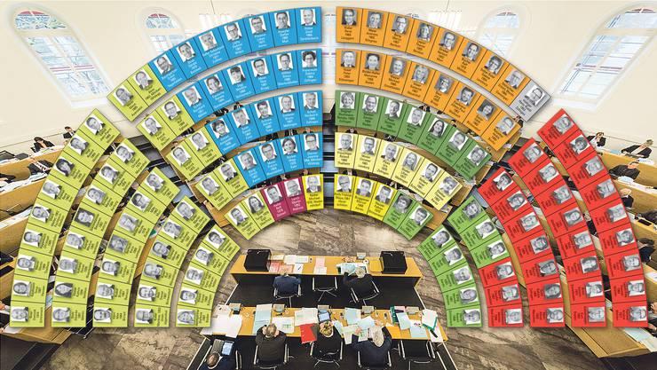 Der neue Grosse Rat: Ganz links die SVP (grün), dann die FDP (blau), EDU (rot), BDP (dunkelgelb), EVP (hellgelb), GLP (dunkelgrün), CVP (orange) sowie SP (rot) und Grüne (grün).