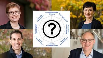 Vier Kandidierende buhlen um die Wählergunst. In alphabetischer Reihenfolge sind dies Marianne Binder (CVP), Thierry Burkart (FDP), Hansjörg Knecht (SVP), und Ruth Müri (Grüne).