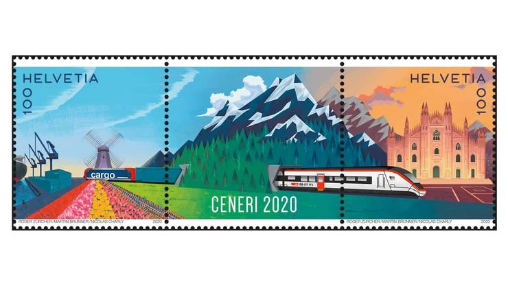 Die Eröffnung des Ceneri-Basistunnels wird von der Post mit einer Briefmarke festgehalten, die ab heute Donnerstag erhältlich ist.