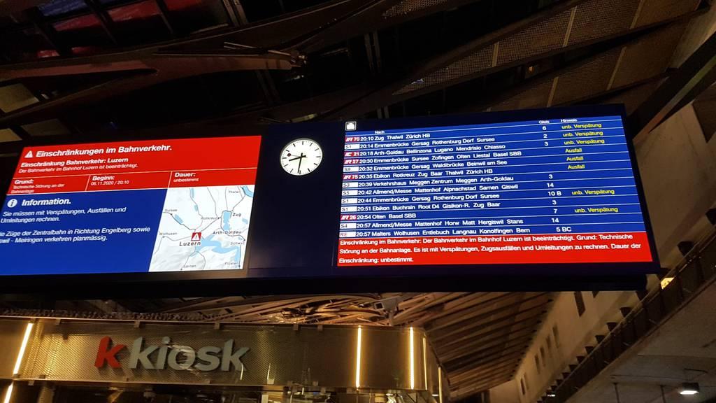 Weichenstörung sorgte am Bahnhof Luzern für Chaos