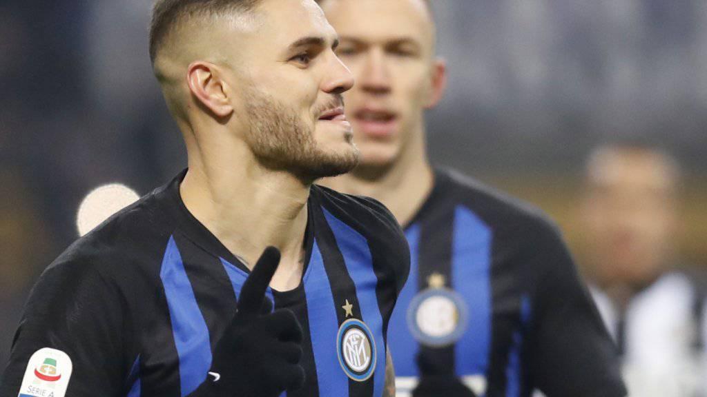 Inter Mailands Topskorer und Captain Mauro Icardi jubelt nach dem Siegestor gegen Udinese