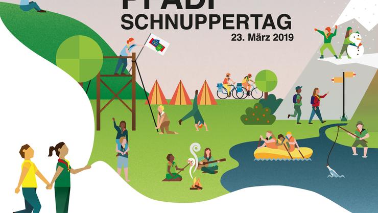 Der nationale Pfadi Schnuppertag findet am 23. März 2019 statt. Pfadis in der ganzen Schweiz laden an diesem Tag alle Interessierten zwischen 4 und 15 Jahren ein, um Pfadiluft zu schnuppern.