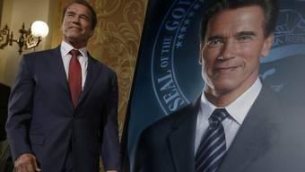 Arnold Schwarzenegger und sein Abbild (Archiv)