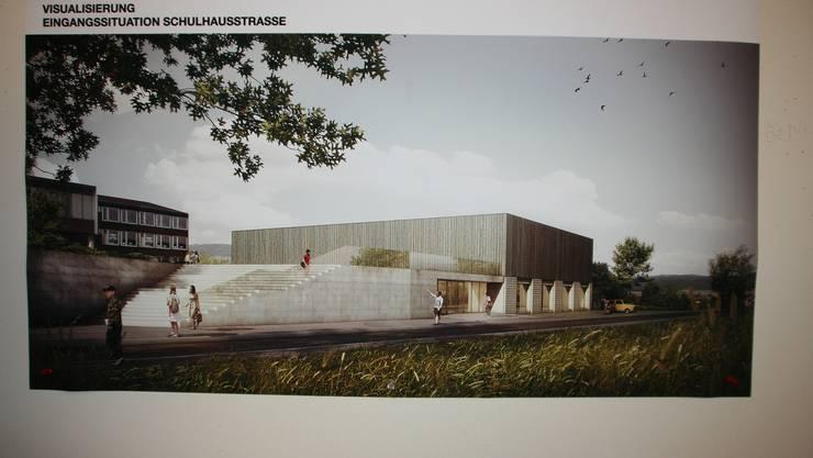 So sehen die Architekten die neue Turnhalle von aussen.
