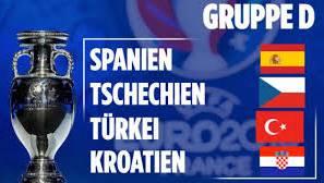 In Gruppe D treffen Spanien, Tschechien, die Türkei und Kroatien aufeinander.