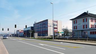 Von der Aarauerstrasse in Brugg führt ein Bypass zur neuen Strasse und Richtung A3. Visualisierung BVU