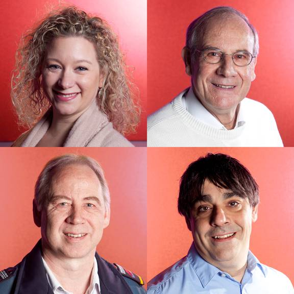 Diese vier Menschen sind im Final für die Wahl zum Rüüdige Lozärner 2015. Nicole Ercolani (o.l.), Beat Fischer (o.r.), Theo Honermann (u.l.), Jesús Turiño (u.r.)