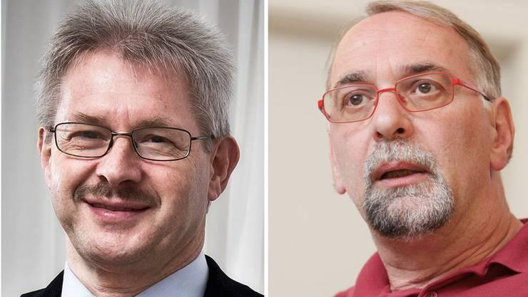 Kurt Schmid und Kurt Emmenegger sind gegensätzlicher Meinung, in der Frage, ob Grenzgänger schlechtere Löhne erhalten sollen.