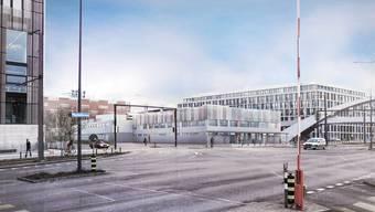 Visualiserung: Das Asylzentrum wird ein moderner Bau auf dem Duttweiler-Areal.