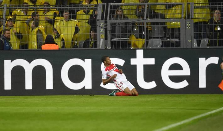 Der Monegasse Kylian Mbappé feiert seinen ersten Treffer der Partie.