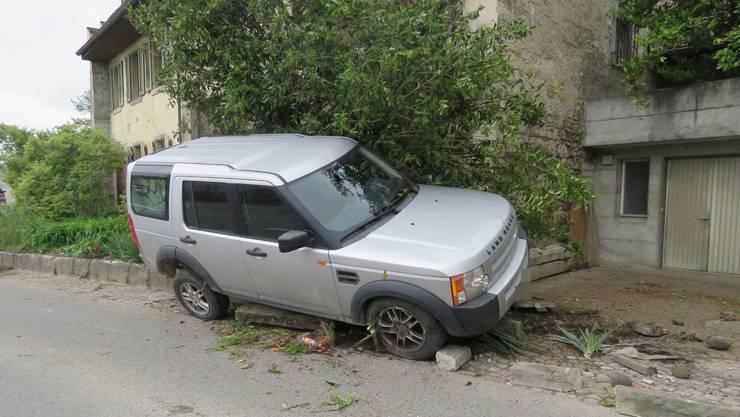 Der Lenker dieses Autos nickte am Steuer ein, ehe er in eine Gartenanlage prallte.