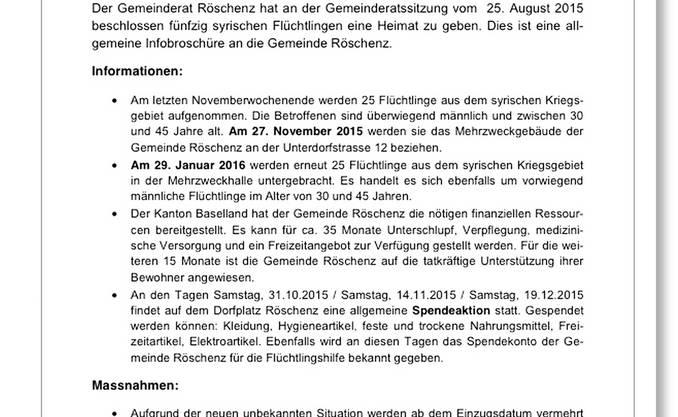Das Schreiben der unbekannten Urheber mit dem gefälschten Logo des Infoblattes der Gemeinde Röschenz.
