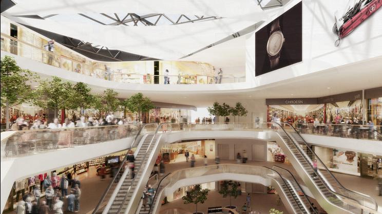 So soll dereinst das Einkaufszentrum «Mall of Switzerland» in Ebikon aussehen.