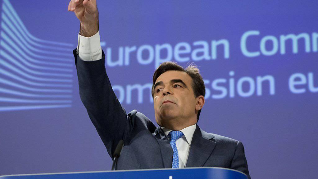 Warten auf die Börsenäquivalenz: Der Chefsprecher der EU-Kommission, Margaritis Schinas, hat am Dienstag in Strassburg bestätigt, dass die Schweiz Thema bei der wöchentlichen Sitzung der EU-Kommission war. Entscheidungen seien jedoch keine getroffen worden, sagte er. (Archiv)