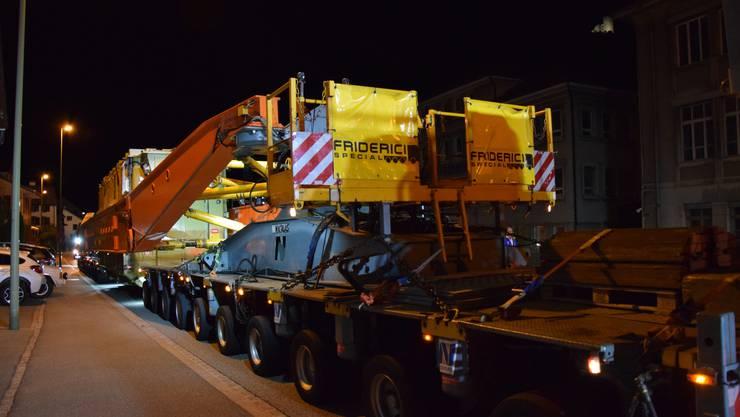 In der Nacht von Dienstag, 25. September 2018, auf Mittwoch, 26. September 2018, fuhr ein Schwertransport mit einem Transformator der Schönenwerder Firma SGB-SMIT vom Basler Auhafen bis nach Grenchen SO.