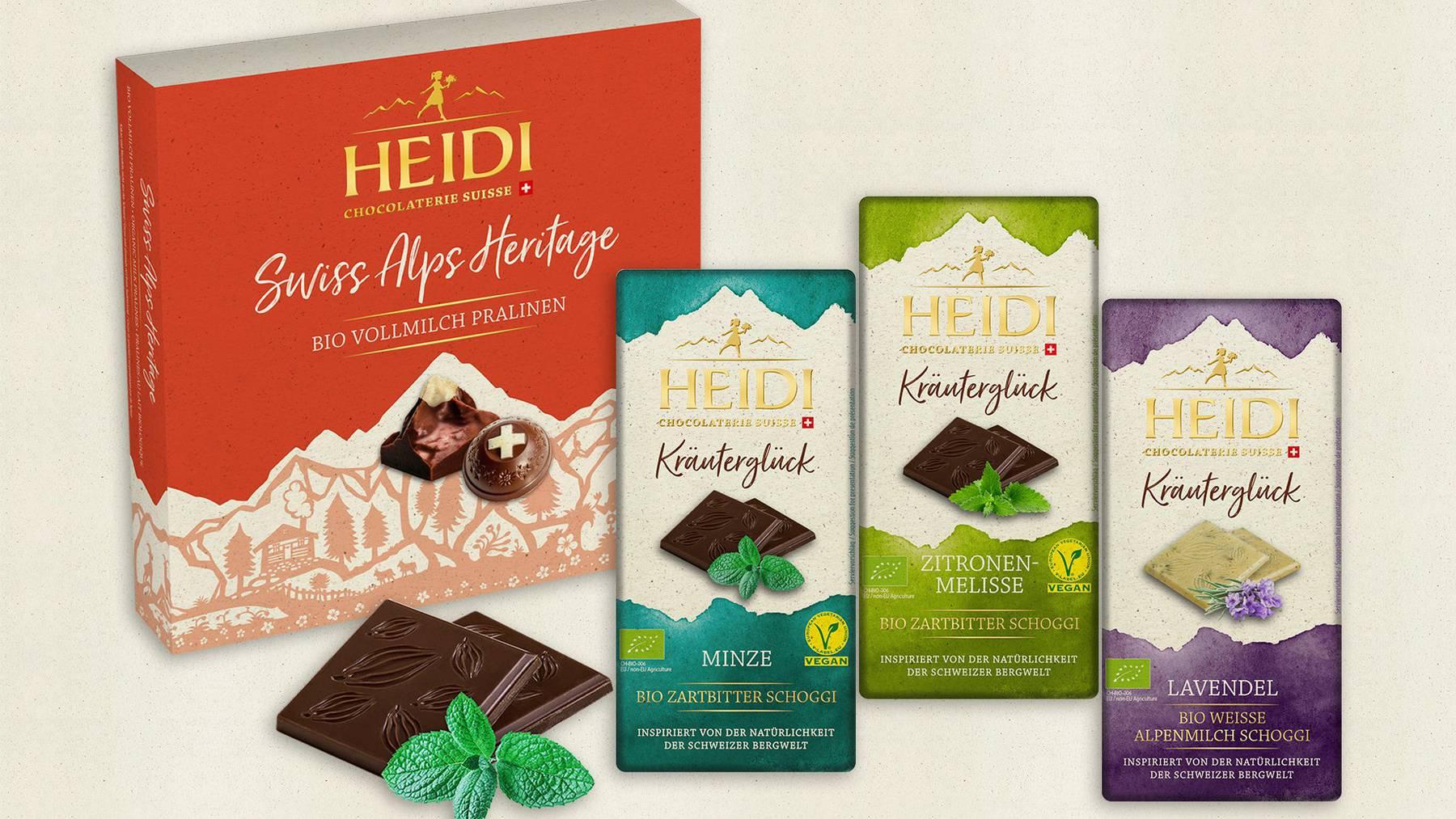 Eine Produkteauswahl der «Heidi»-Schoggi.