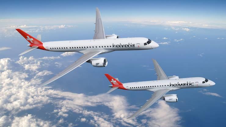 Vier Embraer 195-E2 (im Bild) statt dem bisher favorisierten Typ E190-E2 bestellt Helvetic Airways um nach Corona flexibler ins Geschäft zurückzukehren.