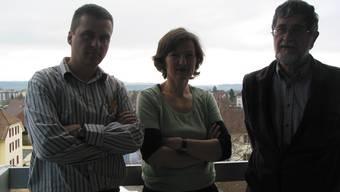 Ablösung geglückt: Emanuel Stöcklin (rechts) mit seinen Nachfolgern Valérie Duchoud und Manuel Fricker.