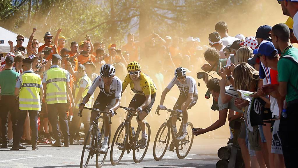 Die letzten drei Sieger der Tour de France: Egan Bernal, Geraint Thomas und Chris Froome (von links nach rechts)