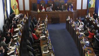 Der gestürzte bolivianische Staatschef Evo Morales darf bei künftigen Neuwahl nicht mehr antreten: Abstimmung im Senat in der Hauptstadt La Paz.