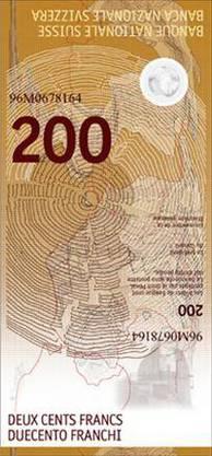 """Und so soll sie demnächst aussehen. """"Die 200er-Note zeigt die Schweiz von ihrer wissenschaftlichen Seite – das Hauptelement ist die Materie"""", so die SNB."""