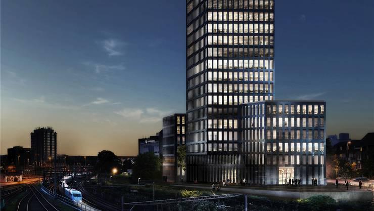 Der Grosspeterturm soll 22 Etagen hoch werden. Im unteren Teil entsteht bis im ersten Halbjahr 2017 das neue Accor Hotel Ibis Styles Basel City.