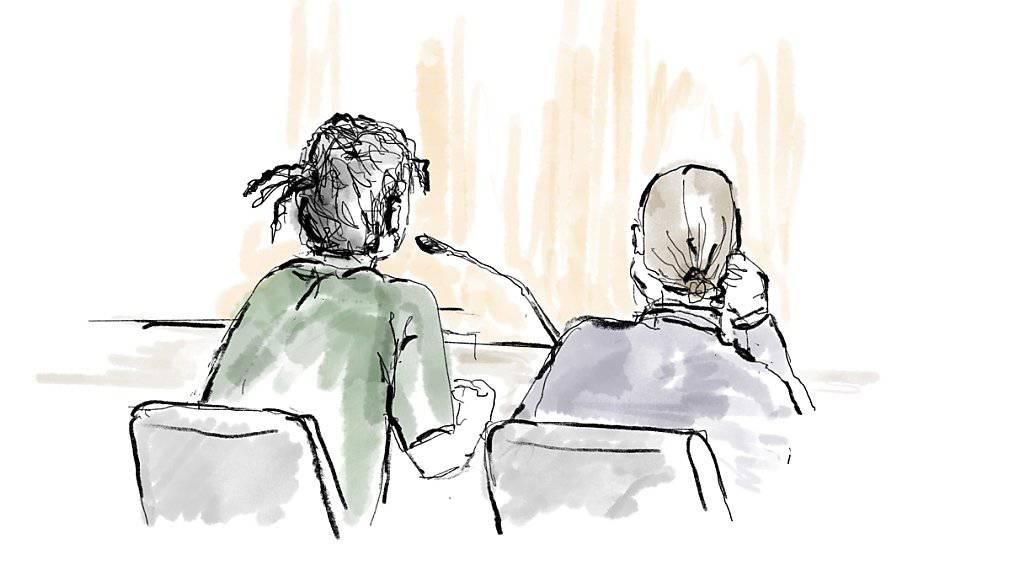 Gerichtszeichnung von Asap Rocky (links) und seinem Anwalt Slobodan Jovicic während der Gerichtsverhandlung in Stockholm. (Archivbild)