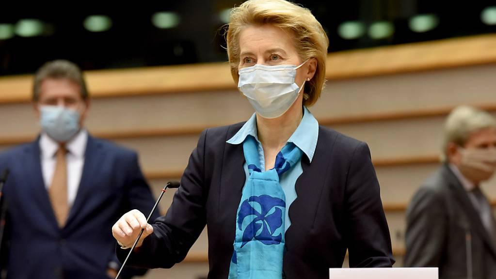 EU-Kommissionspräsidentin Ursula von der Leyen im Europaparlament.