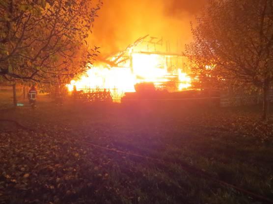 In einer Halle in Jonen brach ein Brand aus. Dieser zerstörte das Gebäude.