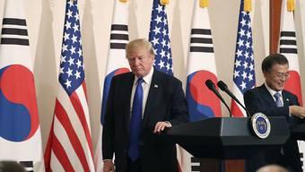Streit beim Stahlhandel: US-Präsident Donald Trump und Südkoreas Präsident Moon Jae-in. (Archivbild)