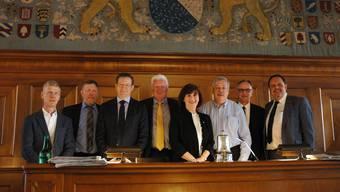Andreas Geistlich (FDP), Hanspeter Haug (SVP), Josef Wiederkehr (CVP), Willy Haderer (SVP), Brigitta Johner (FDP), Rolf Steiner (SP), Pierre Dalcher (SVP) und Rochus Burtscher (SVP; von links) stehen ein für die LTB.