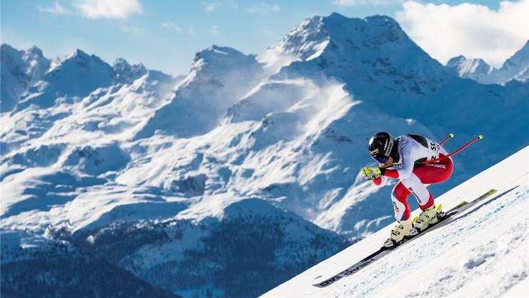 Lara Gut-Behrami steht seit dieser Saison mit ihrem Doppelnamen am Start, hier am Super-G in St. Moritz, wo sie Zweite wird.