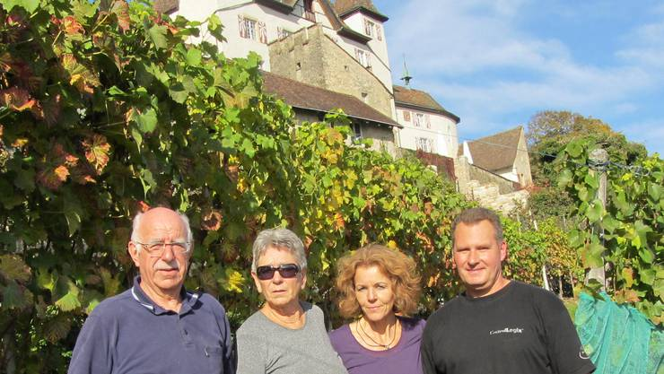 Josef und Mina Müller sowie Ruth und Patrick Monnerat (von links) sind mitten in der Weinlese.