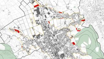 In Reinach sollen total 4,94 Hektaren Bauland am Siedlungsrand ausgezont werden (rote Flächen).