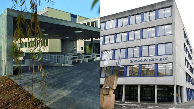Gehören zu den besten des Landes: Das Gymnasium in Oberwil und das Basler Gymnasium Bäumlihof.