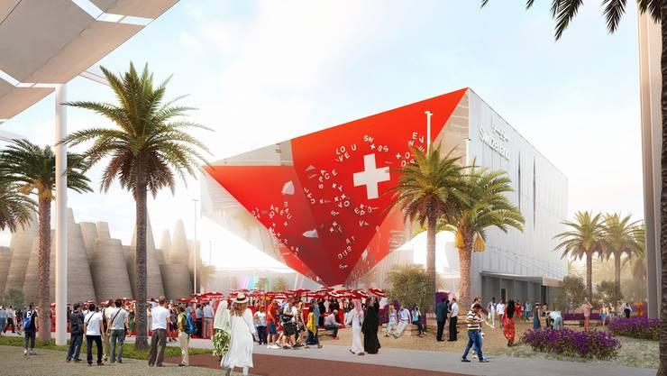 Der Schweizer Pavillon an der Expo 2020 ist spektakulär. Der Zigarettenhersteller Philip Morris unterstützt den Auftritt als «Main Partner» mit rund 1,8 Millionen Franken.Visualisierung: EDA/Präsenz Schweiz