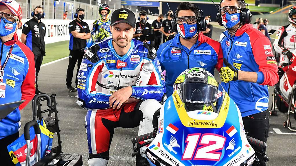 Wie hier in Katar wird Tom Lüthis Kalex mit der Nummer 12 auch in Portugal weit hinten in der Startaufstellung stehen