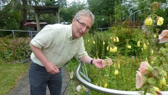 Beat Kobi im Sinnesgarten des Psychogeriatrischen Pflegeheimes zur Forst in Solothurn, dessen blühende Pracht Demenzkranken hilft, sich zu erinnern.