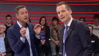 Historiker Daniele Ganser und Moderator Jonas Projer während der SRF-Sendung «Arena» zum Thema «Trumps Krieg gegen die Medien».