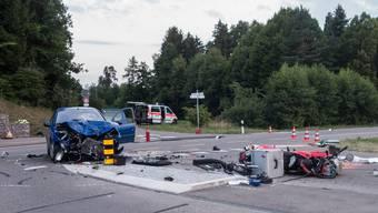 Das Polizeifoto von der Unfallstelle in Dägerlen.